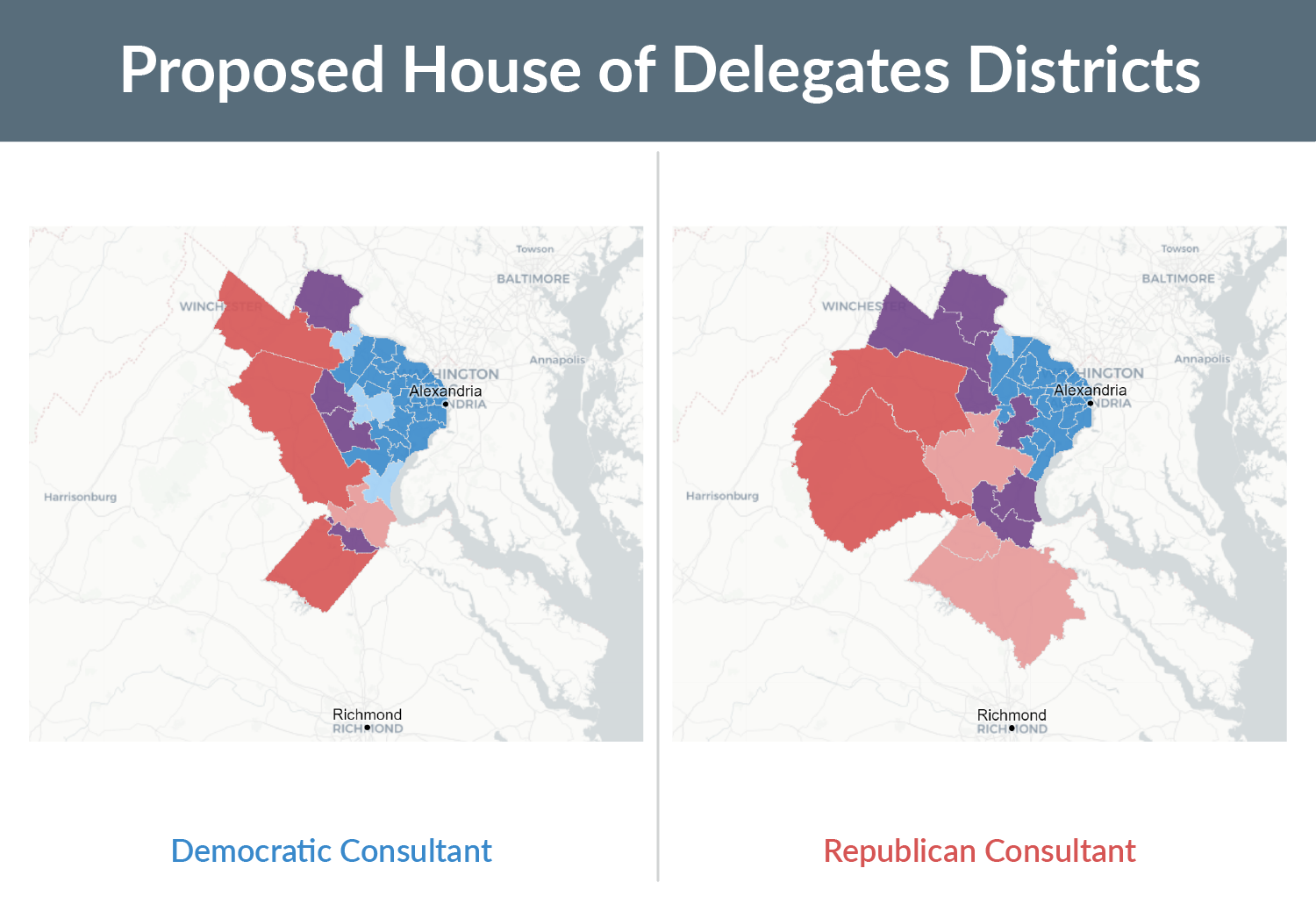 Two maps showing the proposed House of Delegates districts and political lean drawn by the Virginia Redistricting Commission's Democratic and Republican consultants. Strong Democratic is shown in dark blue, Leans Republican is shown in light red, and Strong Republican is shown in dark red.