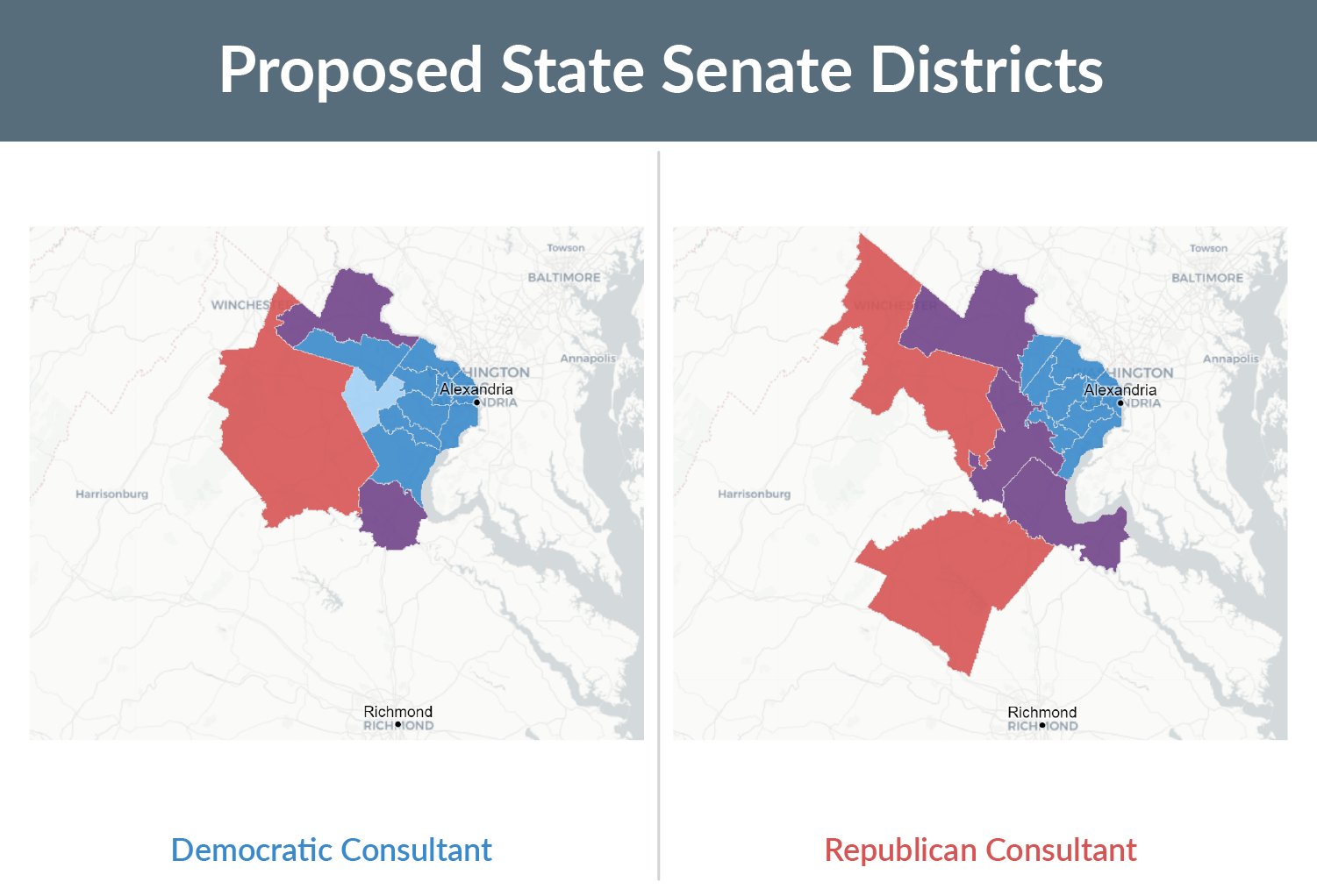 Two maps showing the proposed State Senate districts and political lean drawn by the Virginia Redistricting Commission's Democratic and Republican consultants. Strong Democratic is shown in dark blue, Leans Republican is shown in light red, and Strong Republican is shown in dark red.