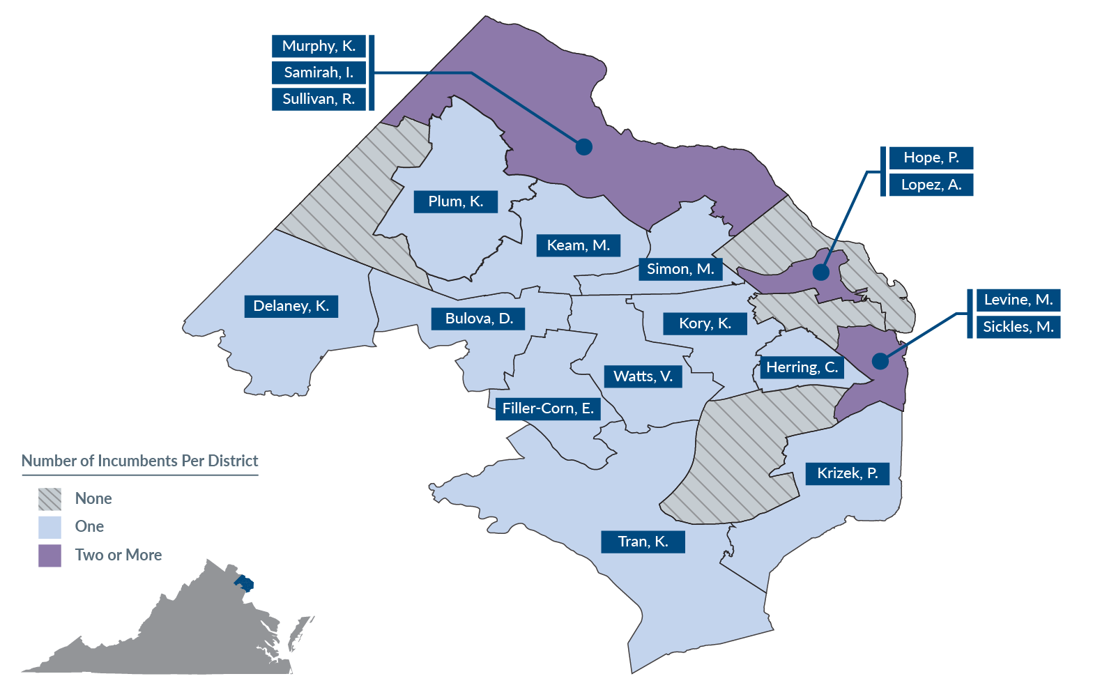 A map of proposed House of Delegates districts in Northern Virginia.