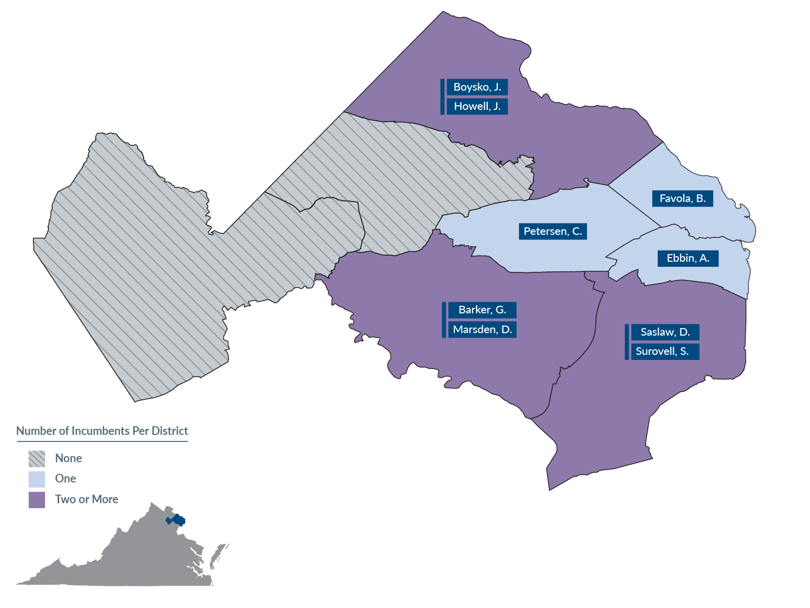 A map of proposed State Senate districts in Northern Virginia.